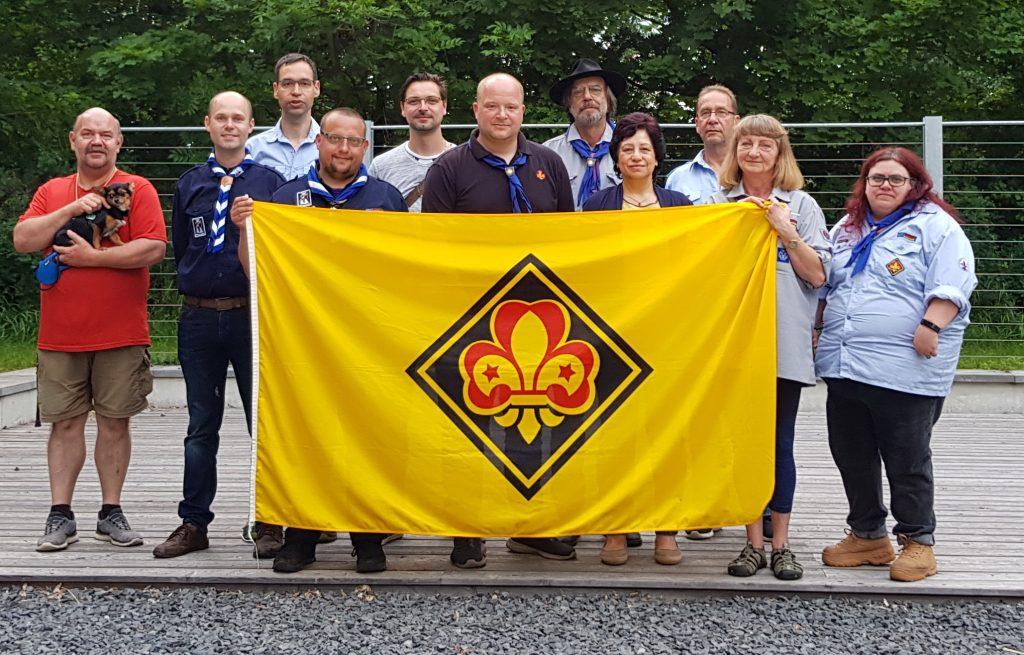 Der neue Regionssprecher Andreas Roth (Mitte) mit den Mitgliedern  der VDAPG e.V. Gilden Drei Gleichen und Bonifatius