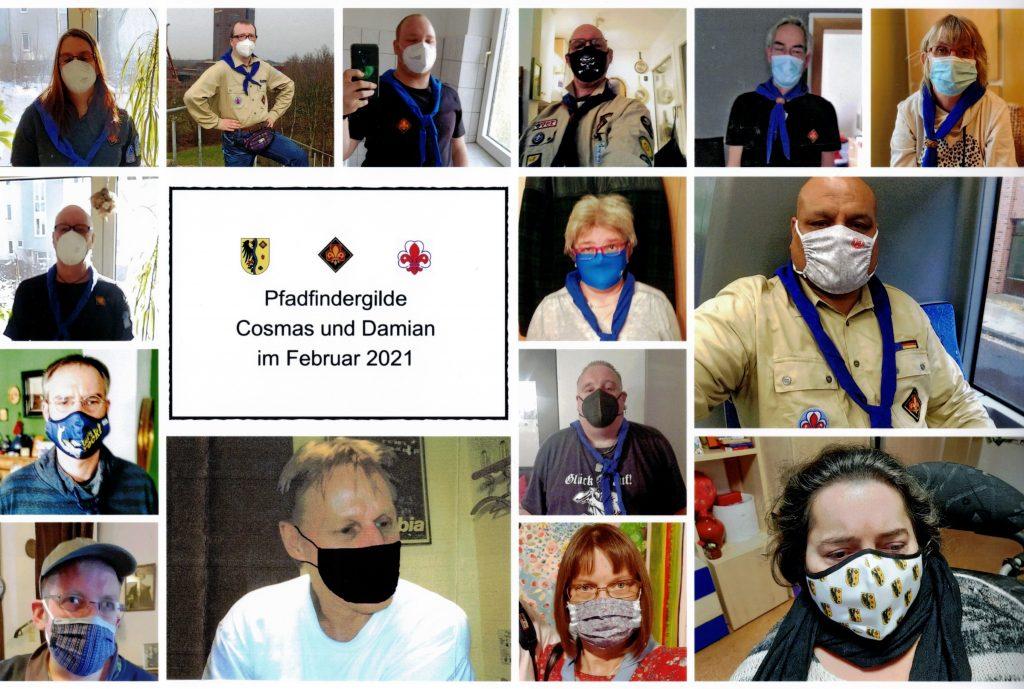 """Auf dem Bild sind die Portraits der Mitglieder der Pfadfindergilde Cosmas und Damian zu sehen. Mit Maske und Halstuch."""""""